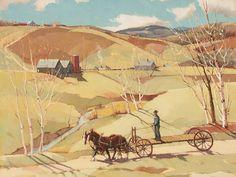 """""""Spring Work Begins,"""" Paul Sample, ca. 1940, oil on canvas, 25 × 30"""", Caldwell Gallery."""