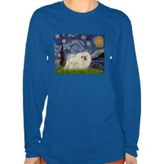 Someone just purchased this - an adaptation of Starry Night by Vincent Van Gogh with a white Pekingese - T Shirts