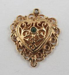 Heart With Emerald Stone Mechanical 10K Gold by SilverHillz