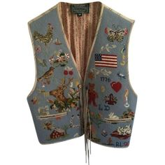 Pre-owned Ralph Lauren Country Needlepoint Vest (1.350 RON) ❤ liked on Polyvore featuring outerwear, vests, blue multi, denim vest, brown waistcoat, blue waistcoat, blue vest and summer vest