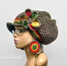 Изготавливаемые на заказ темно-серый Dreadlock шляпу с Rasta по ScarFanatic