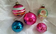Vintage Christmas Ornaments Glass Mica Shiny Brites and Indent Lot of 5 1940s in Collectibles | eBay