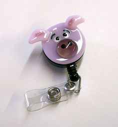Fused Glass Pig Badge Holder Pink by CDChilds on Etsy