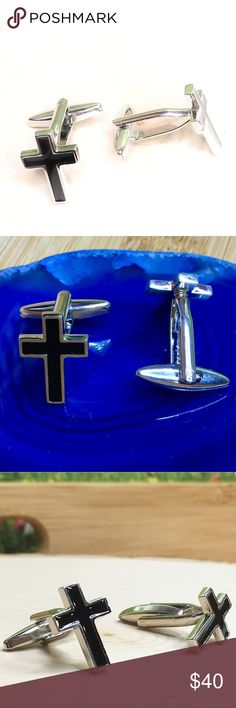 """Silver Cross Cufflinks  Religious Black Enamel Brand New. Boutique Item.  Silver toned and Black enamel cufflinks.   The cross is 3/4"""" Tall by 1/2"""" Wide  Comes in a gift box.   Keywords : Cuff Links, cufflink, cufflinks, Cuffs, links, religion, cross Tommy Dean Accessories Cuff Links Hair And Beard Styles, Black Enamel, Fashion Tips, Fashion Design, Fashion Trends, Dean, Cuffs, Best Gifts, Religion"""