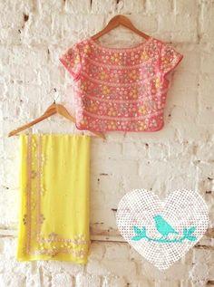 Summer By Priyanka Gupta. Floral Dress Outfits, Yellow Floral Dress, Yellow Saree, Fashion Dresses, Trendy Sarees, Fancy Sarees, Stylish Sarees, Blouse Neck Designs, Kurta Designs