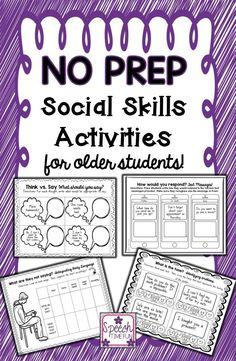 Speech Time Fun: Work on social skills with upper elementary students and older with this fun and engaging NO PREP activity pack!!  9 skills targeted!!!!!