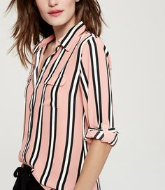 Thumbnail Image of Color Swatch 5740 Image of Striped Utility Blouse