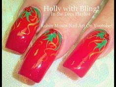 Nail Art Tutorial | DIY EASY Christmas Nails! | Traditional Holly Berries - YouTube