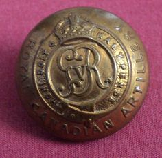 Vintage Royal Canadian Artillery Brass Button Military W. Scully