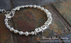 Sterling Silver Baby Bracelet - Infant Bracelet - Baby Girl Bracelet - Fresh Water Pearls - Valentine's Day - Baby Shower - Gift for Baby - Keepsake Jewelry - www.etsy.com/shop/memorylanejewelry