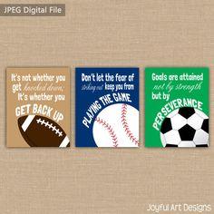 Set of 3 Motivating Sports Quotes PRINTABLE Signs. Football Soccer Baseball Children's Wall Art. Boy Bedroom Decor. 3 DIGITAL files..