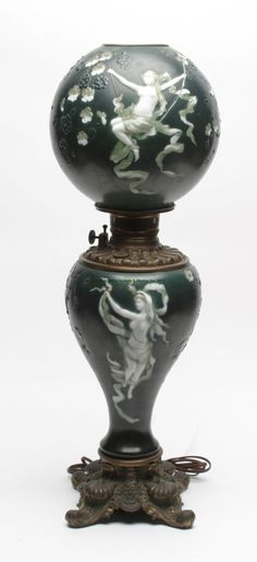 Art Nouveau Dancing Nymph Glass Parlor Lamp With Cast Metal Base