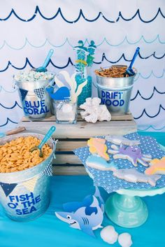 Shark Ocean Birthday Party - Weston Second Birthday - Birthday Ocean Birthday Cakes, Whale Birthday Parties, 1st Boy Birthday, Birthday Party Themes, Birthday Ideas, Mermaid Birthday, Underwater Birthday, Birthday Snacks, Luau Birthday
