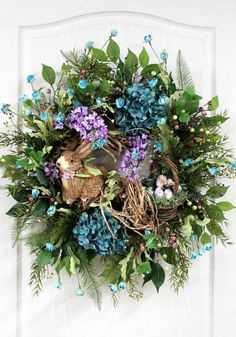 Easter Door Wreath Primitive Country Wreath by FloralsFromHome, $182.00