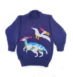 Jurassic Dinosaurs Sweater and Hat Knitting pattern by iKnitDesigns