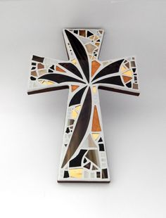 """Large Mosaic Wall Cross, Abstract Floral, """"Sunset"""", Shades of Brown + Gold, Handmade Stained Glass Mosaic 15"""" x 10"""" by GreenBananaMosaicCo"""