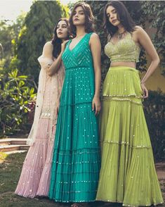 Beautiful chiffon-silk dresses with mirror work and hand crafted embellishment. Beautiful chiffon-silk dresses with mirror work and hand crafted embellishment. The post Beautiful chiffon-silk dresses… Lehenga Designs, Kurti Designs Party Wear, Indian Wedding Outfits, Bridal Outfits, Indian Outfits, Bridal Dresses, Bridesmaid Dresses, Indian Gowns Dresses, Pakistani Dresses