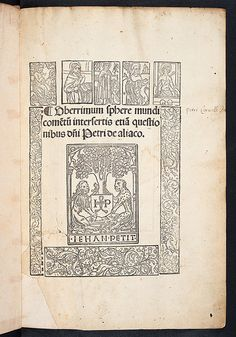 Illustrated title-page of Johannes de Sacro Bosco: Sphaera mundi 1498