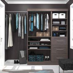 Bestar Furniture 61 Inch Classic kit in Bark Gray Closet Storage, Closet Organization, Storage Shelves, Storage Spaces, Modern Closet Organizers, Corner Shelves, Small Storage, School Organization, Organization Ideas