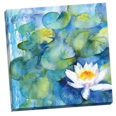 Portfolio Canvas Decor Water Lily Watercolor I by Rachel McNaughton Large Canvas Wall Art, Size: Small 18 inch, Multicolor Art Floral, Large Canvas Wall Art, Canvas Art, Watercolor Print, Watercolor Paintings, Watercolors, Watercolour Flowers, Water Lilies, Painting Prints
