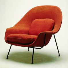 Knoll#70 Womb Chair  Eero Saarinen  Design: 1947  Production: 1948-93  Manufacturer: Knoll Associates, Inc.,  New York  Size: 89 x 100 x 90; seat height 43 cms  Material: fabric-covered and fiberglass  reinforced latex padding, tubular steel base