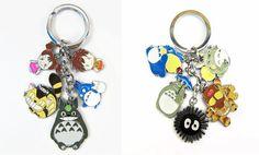 Cute 2-3cm Anime Cartoon Miyazaki Hayao Totoro Metal Figure Toys Keychains Pendants Kawaii Cute Key Chain Ring Kids Toys Gift