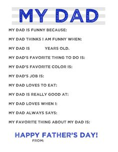 My Dad...Free Father's Day Printable DIY