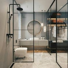 Modern Bathroom Inspiration // Elena Sedova - Pursue your dreams of the perfect Scandinavian style home with these inspiring Nordic apartment designs. Modern Contemporary Bathrooms, Modern Bathroom Design, Bathroom Interior Design, Decor Interior Design, Contemporary Bathroom Inspiration, Industrial Bathroom Design, Contemporary Building, Contemporary Cottage, Modern Contemporary Homes