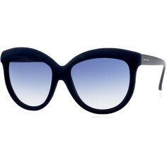 Italia Independent I-Plastik Velvet-Textured Enhanced-Brow Gradient... ($210) ❤ liked on Polyvore featuring accessories, eyewear, sunglasses, glasses, navy, cat-eye glasses, gradient sunglasses, studded sunglasses, gradient glasses and velvet glasses