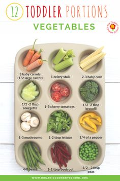 Toddler Portion Sizes – Ideas and Strategies to Ensure Your Toddler's Diet is Balanced and Varied. Toddler Portion Sizes – Ideas and Strategies to Ensure Your Toddler's Diet is Balanced and Varied. — The Organic Cookery School (Vegetables) Toddler Lunches, Healthy Toddler Meals, Healthy Kids, Kids Meals, Toddler Food, Toddler Nutrition, Healthy Lunches, Toddler Learning, Toddler Activities