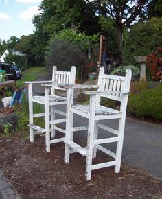 On Reserve For A. Antique Teak Spectator Chairs, Billiards Chairs,  Lifeguard Chairs, Beach Chairs, Poolside Chairs With White Chippy Paint