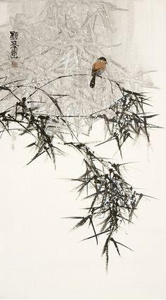 Bird in Winter Bamboo - 李显波水墨画