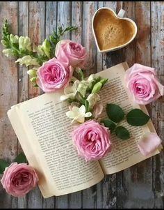 Beautiful Roses, Beautiful Flowers, Raindrops And Roses, Book Flowers, Coffee Heart, Good Morning Coffee, Coffee And Books, Jolie Photo, Coffee Cafe