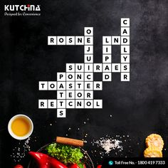 This crossword contains names of #Kutchina kitchen appliances. Find the words. Click to know more about Kutchina appliances: http://www.kutchina.com/ #ModernKitchen #DesignedForConvenience #HappyKitchen #HappyHome #KitchenLove #GetKutchified #HeartOfAHome