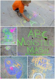 ABC Monster Mash #PlayfulPreschool learning reading and math outside!