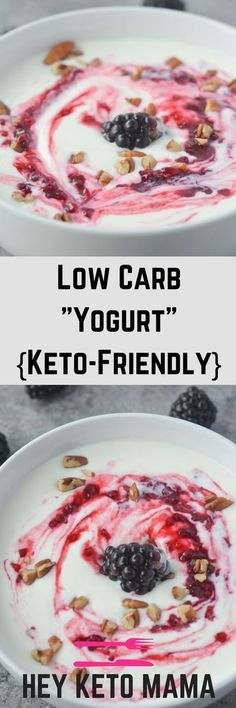 This low carb yogurt is super easy to make and actually good for you! With just 2 carbs (for the base), it's the perfect way to brighten up your morning! | heyketomama.com