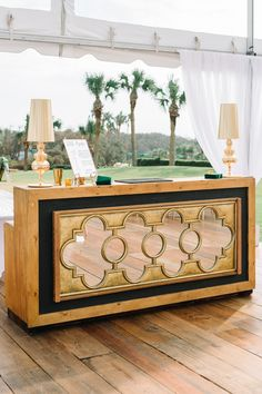 Gold and black geometric wedding bar with lamps for a RITZ CARLTON AMELIA ISLAND tented wedding reception // Photos by Aaron and Jillian Photography Wedding Food Stations, Tent Wedding, Wedding Reception, Wedding Ideas, Geometric Wedding, Ceremony Decorations, Event Design, Wedding Planner, Bar