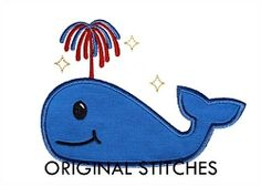 Patriotic Whale Applique - 3 Sizes! | What's New | Machine Embroidery Designs | SWAKembroidery.com Original Stitches