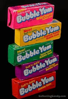 mr bubble yum chewing gum flavors mr wild cherry and mrs tropical punch and mr spearamint mrs grape flavored mrs soft and juicy 90s Childhood, My Childhood Memories, Sweet Memories, Retro Candy, Vintage Candy, Vintage Food, 1990s Candy, Bubble Yum, Good Ole