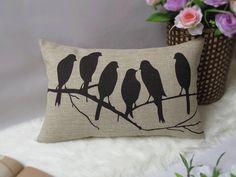 1 cotton linen five birds pattern  decorative by xinghuajiang, $18.00