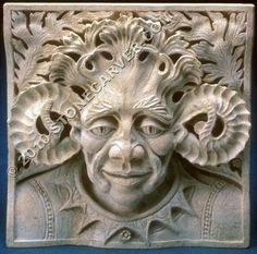 Silverdale Stone Greenman. Kansas Limestone. The design for this Green Man was influenced by my wide study of art history. There are touches of gothic, Sullivanesque prairie style and Javanese art blended together to create this sculpture.