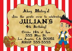 Jake And The Neverland Pirates Invitation. $10.00, via Etsy.