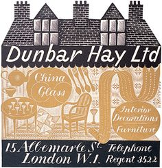Design for Dunbar Hay trade card by Eric Ravilious. The shop was set up by Cecilia Dunbar Kilburn and Athole Hay to help students from the Royal College of Art market their designs. The shop specialised in objects of applied art. Most Popular Artists, Fine Paper, Royal College Of Art, Wood Engraving, London, Art Market, Book Design, Printmaking, Illustrators