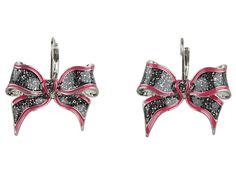 Betsey Johnson Film Noir Pink Bow Drop Earrings