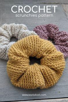 3 in 1 Crochet Scrunchies Pattern – Savlabot 3 in 1 Crochet Scrunchies Pattern – Savlabot Cute Crochet, Crochet Crafts, Yarn Crafts, Crochet Hooks, Simple Crochet, Crotchet, Easy Crochet Patterns, Crochet Designs, Crochet Stitches