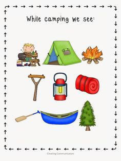 Camping Theme Reading Center -- Continue with the details at the image link. Camping Cards, Camping Guide, Go Camping, Outdoor Camping, Camping Tricks, Camping Ideas, Reading Themes, Reading Centers, What Do You See