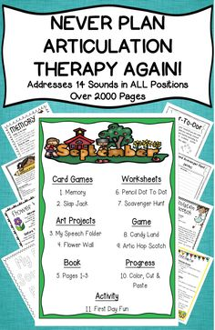 Over 2000+ pages of plans, games, materials lists, worksheets, art projects, activities, card games & more! Everything you need for the entire year of artic therapy! Repinned by SOS Inc. Resources pinterest.com/sostherapy/.