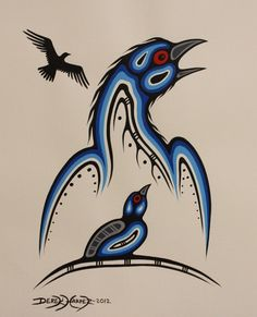 Mother and Baby Bird with Flying Shadow Tribal Wolf Tattoo, Wolf Tattoos, Tribal Art, Spirals In Nature, Native Canadian, Woodland Art, Tlingit, Native American Design, Indigenous Art
