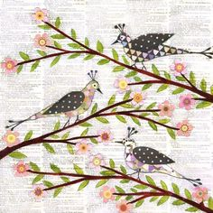 Whimsical Bird Painting Art Print on Wood by Sascalia on etsy.com
