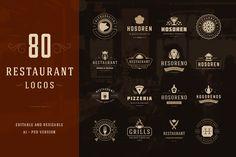 80 Restaurant Logotypes and Badges by Vasya Kobelev on Creative Market